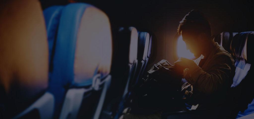 Departure - man in a plane